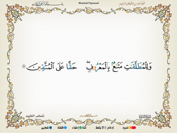 الآية 241 من سورة البقرة الكريمة المباركة Aeoo_242
