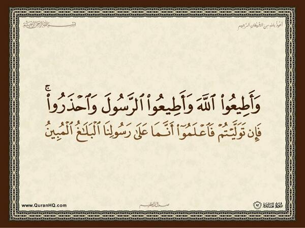 الآية رقم 92 من سورة المائدة الكريمة المباركة Aeoo_a34