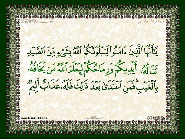 الآية رقم 94 من سورة المائدة الكريمة المباركة Aeoo_a36