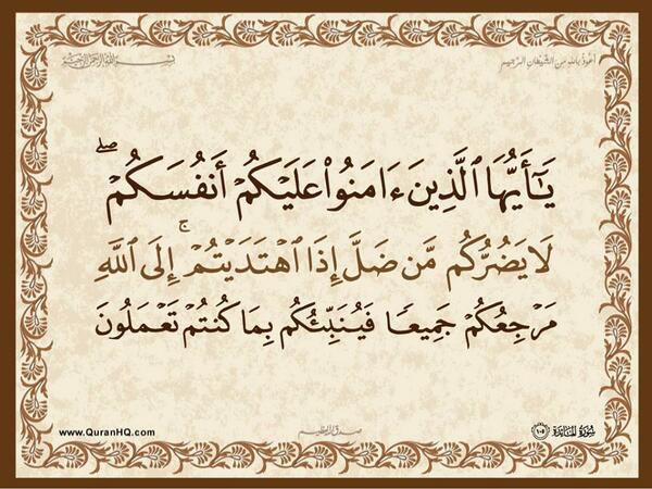 الآية رقم 105 من سورة المائدة الكريمة المباركة Aeoo_a47