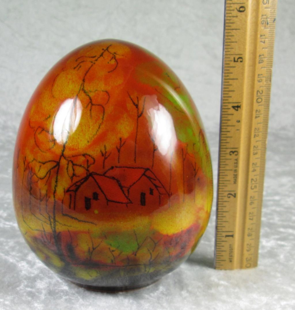 Egg Shape Decorated with Landscape, Trees, House Signed Img_4011