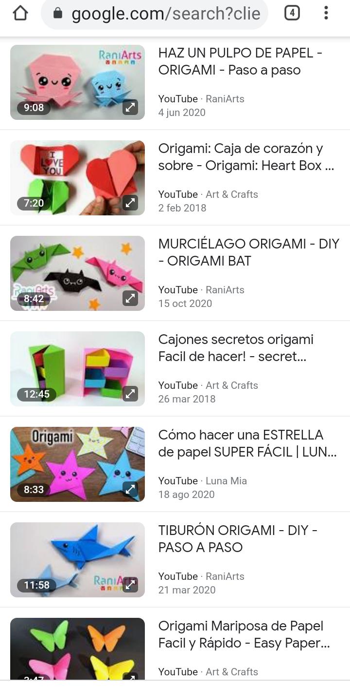 ¿Conocen un buen sitio web, canal de YouTube o libro para hacer origami? Scree118