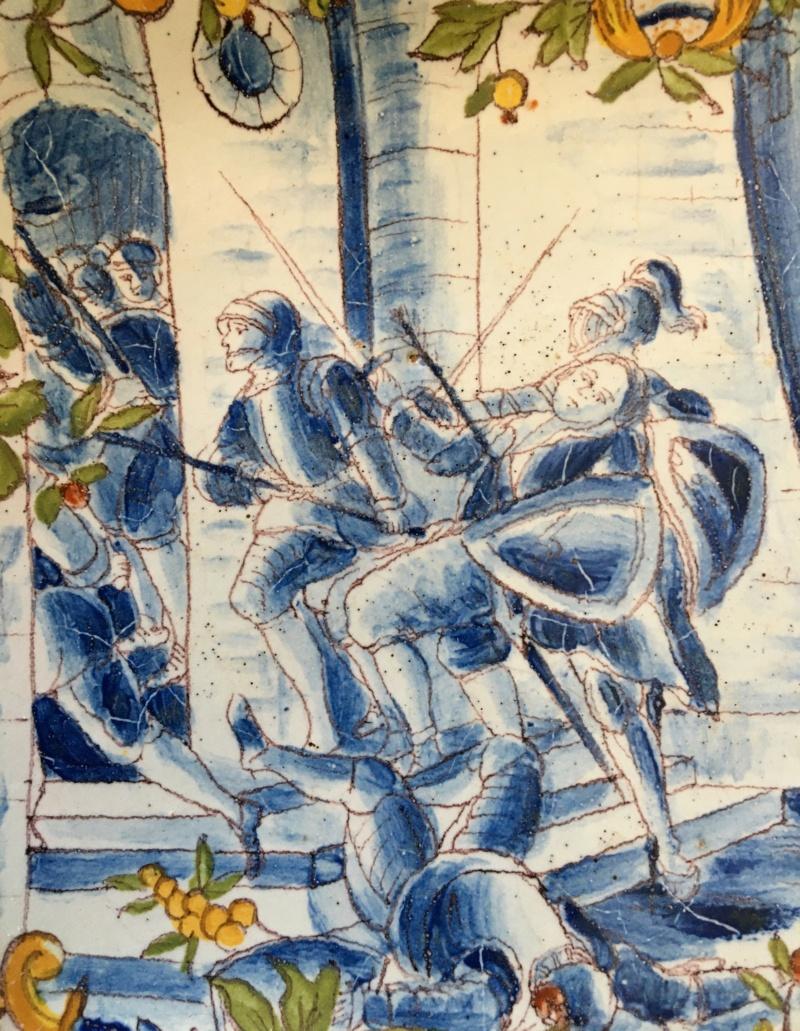 Plat ancien - décor d'une scène de bataille couleur bleue Img_5722