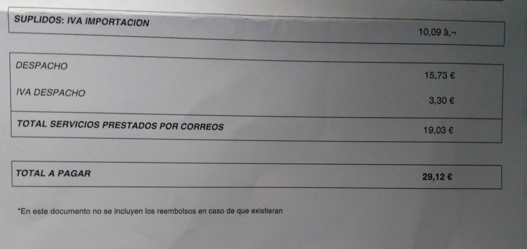 Me han soplado 29€ de tasas de aduana Correo10