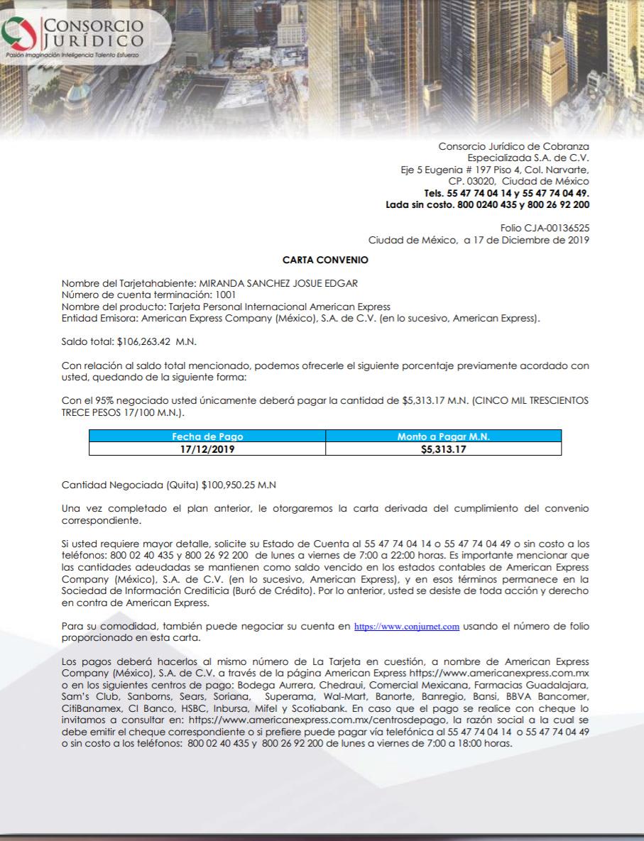 AMEX oferta de negociación Carta111