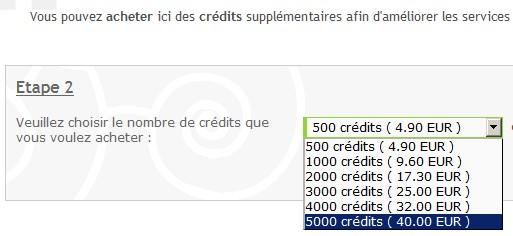 no pub , acheter des crédits Credit10