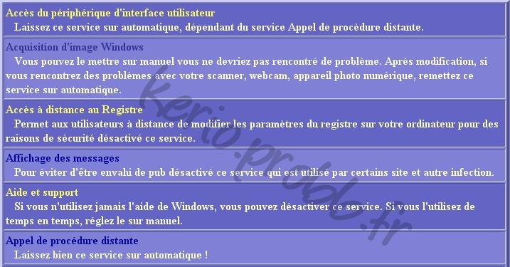 Régler les services Windows 2000, XP et Vista Ser110