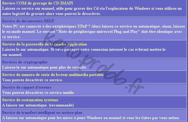 Régler les services Windows 2000, XP et Vista Ser1110
