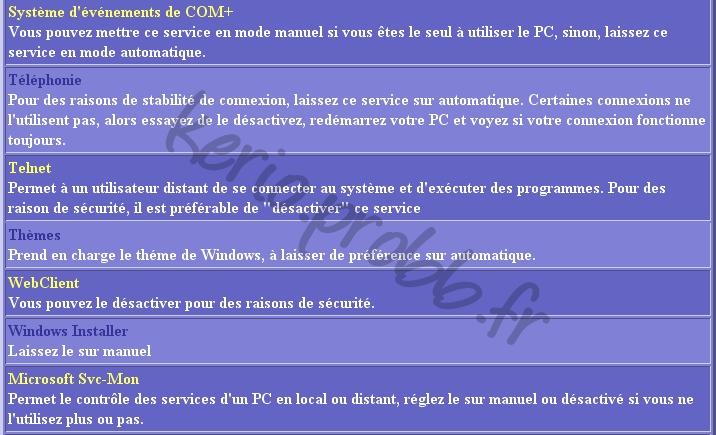Régler les services Windows 2000, XP et Vista Ser1310