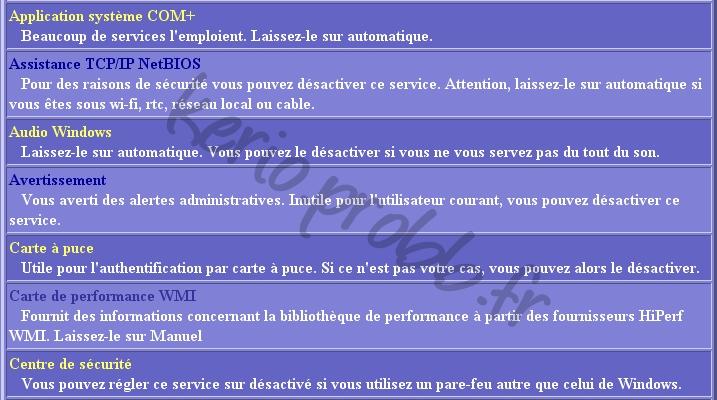 Régler les services Windows 2000, XP et Vista Ser210