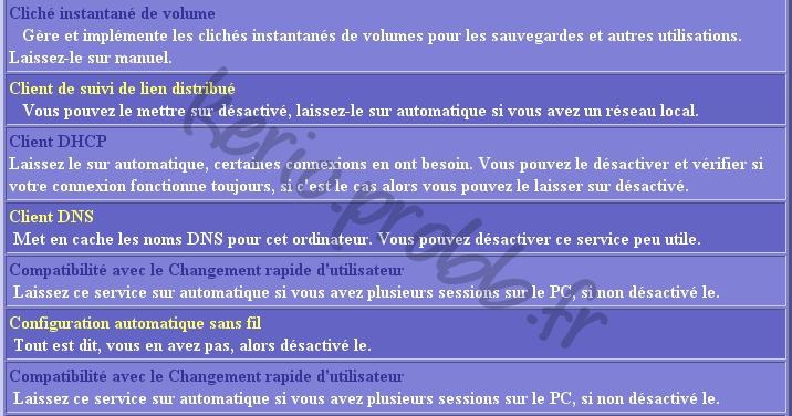 Régler les services Windows 2000, XP et Vista Ser310