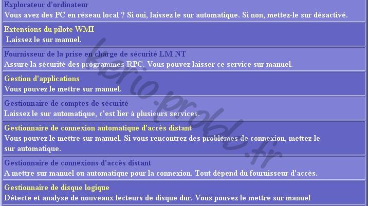 Régler les services Windows 2000, XP et Vista Ser510