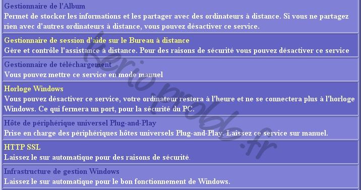 Régler les services Windows 2000, XP et Vista Ser610