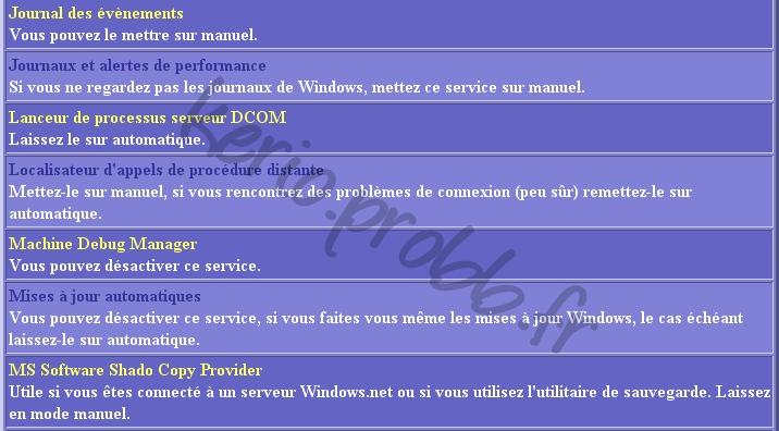 Régler les services Windows 2000, XP et Vista Ser710