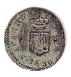 1 Maravedí de Fernando VII (Navarra, 1830 d.C) Fd-vii12