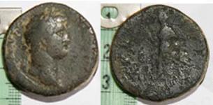 Sestercio de Hadriano y As contramarcado de Celsa Foti14