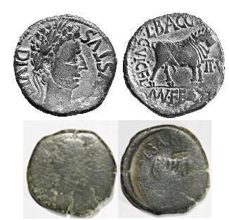 Sestercio de Hadriano y As contramarcado de Celsa Foti16