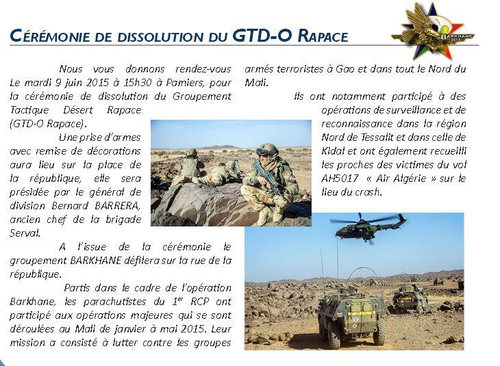 Dissolution du groupement tactique Désert Rapace (GTD Rapace) 1er RCP en présence du chef de corp du régiment, le colonel Bruno HELLUY 1er_rc10