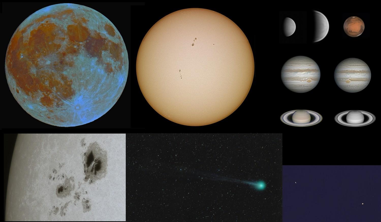 Une partie du système solaire avec différents instruments. Toto14