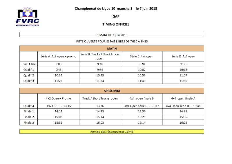 Ligue 10 - 3ème manche TT 1/10 Elec le 7 juin 2015 à Gap  Timing11
