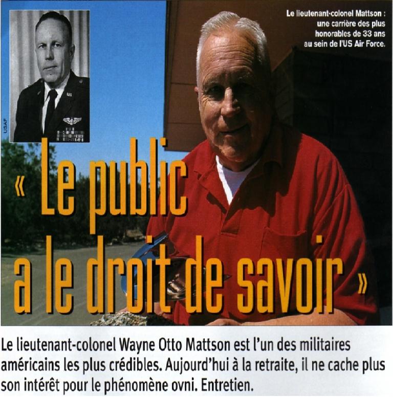 Militaire: Colonel Wayne Otto Mattson: Le public a le droit de savoir Ovni_u10