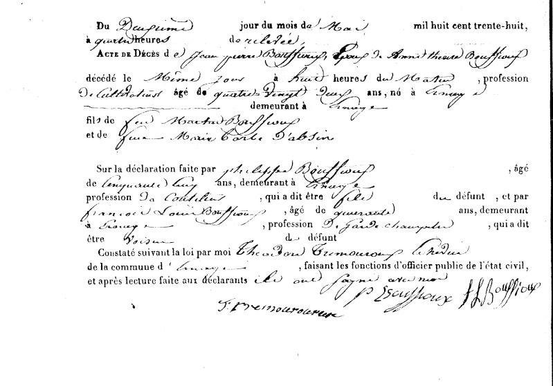 Décès BOUFFIOUX-LARDINOIS à Ernage Sf01d110