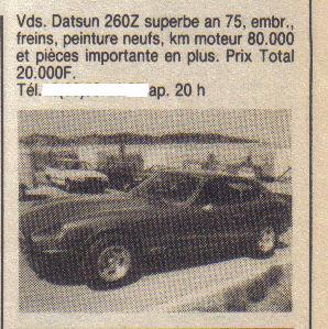 annonces d'antan Datsun / Nissan Z & ZX  ... Annonc12