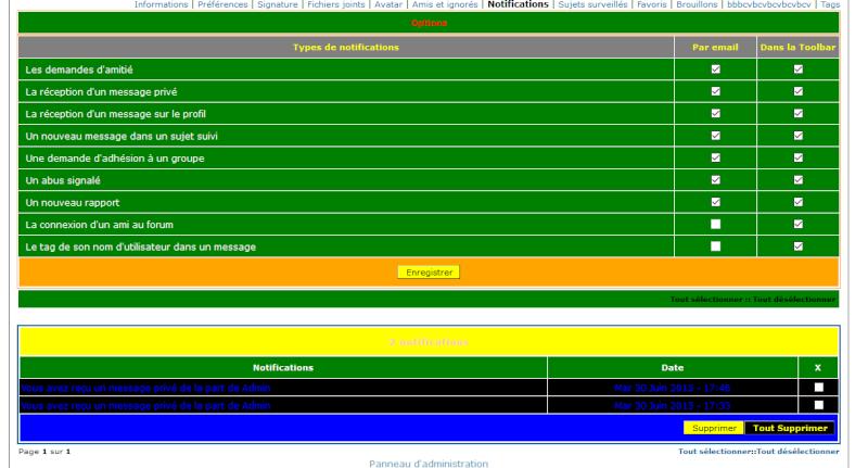 [PHPBB2] Personnaliser l'affichage des notifications dans le profil 0139