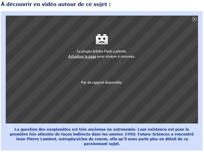 Problème pour visionner certaines vidéos (Firefox avec Adobe Flash) Planta10