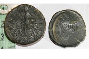 Sestercio de Hadriano y As contramarcado de Celsa Ases210