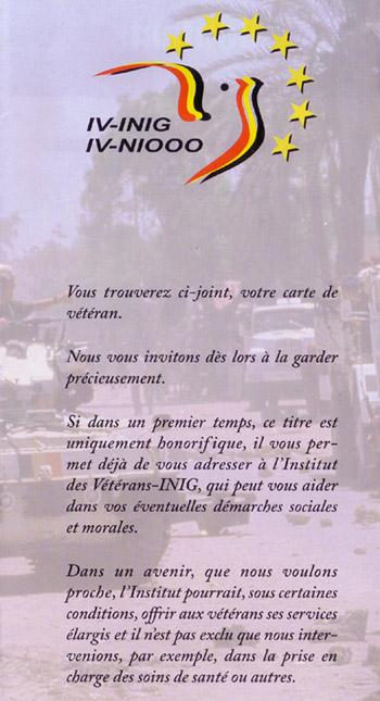 Arrêté royal : Obtention de la carte de Vétéran Deplia10