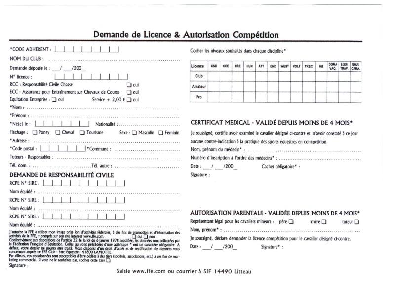 Licences pour cavalier indépendant et engagements concours Formul10