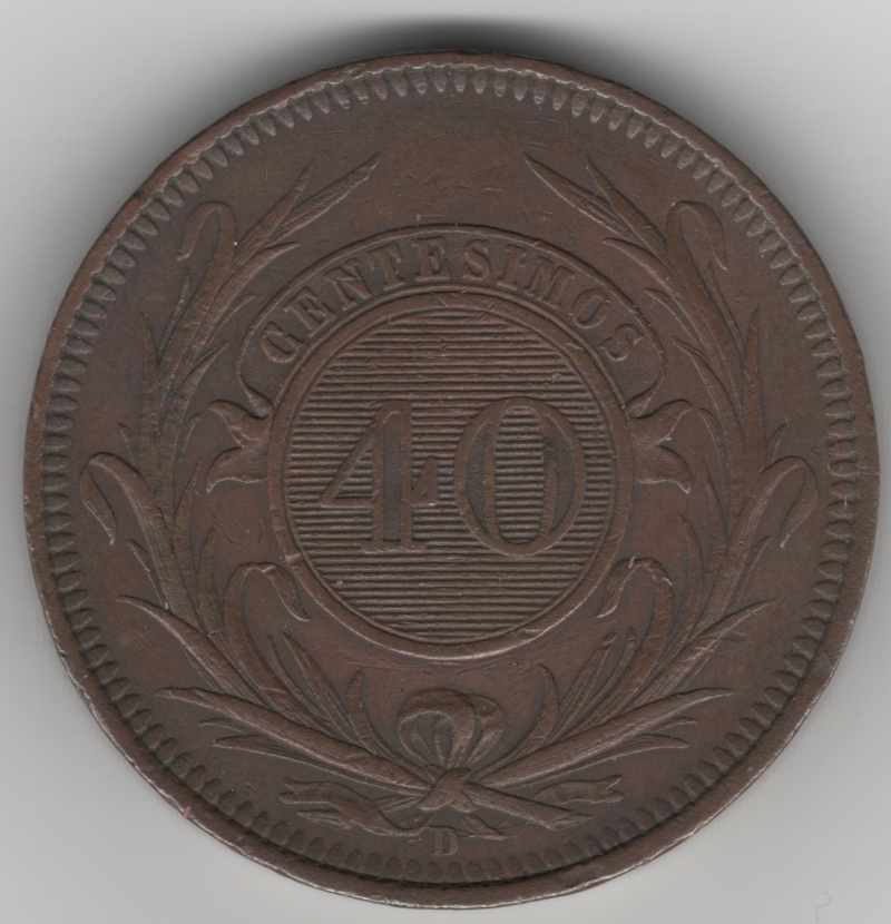 40 Centesimos de Real. Uruguay. 1857. Lyon 40_cen11