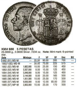 5 pts de Alfonso XII (Madrid, 1882 d.C) 5_pese10