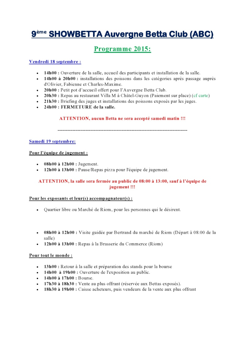 Auvergne Betta Club (ABC) show betta chapter IBC 2015 Progra10