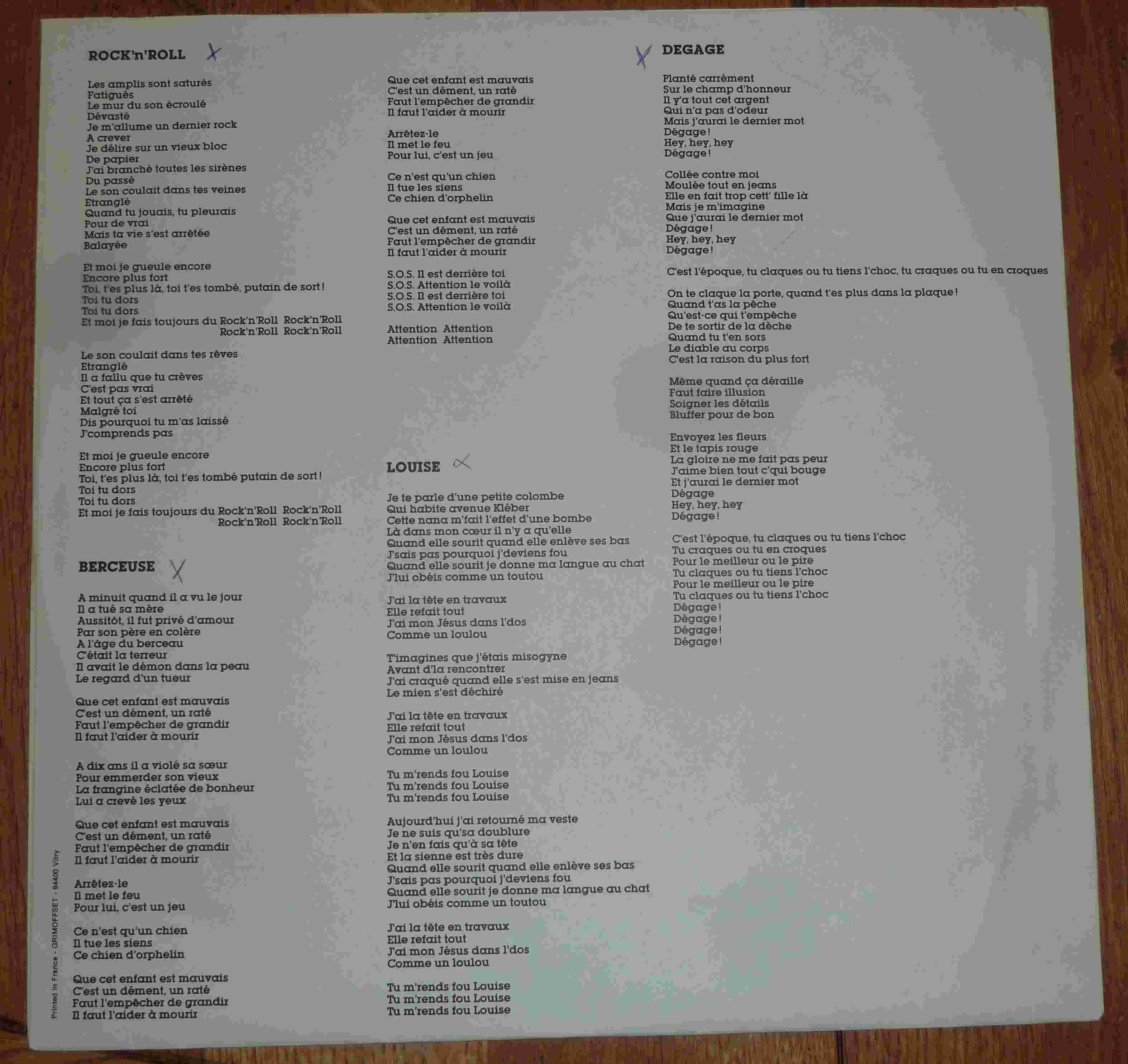 OCEAN Ocean (1981) Toutes les paroles de l'album ... P1170426