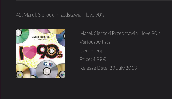 25/08/2015 Frank Farian's projects in iTunes TOP100 Albums Poland11