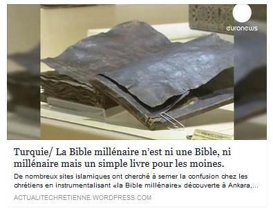 Turquie / La Bible millénaire n'est ni une Bible, ni millénaire ! 150010