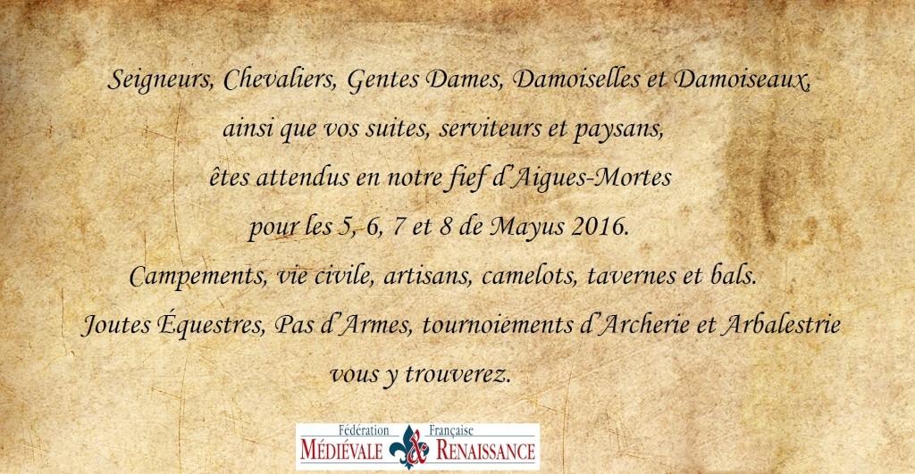 """[05, 06, 07 et 08/05/2016] """"Les Grands Tournois d'Aigues-Mortes"""", 3ème édition Parche11"""