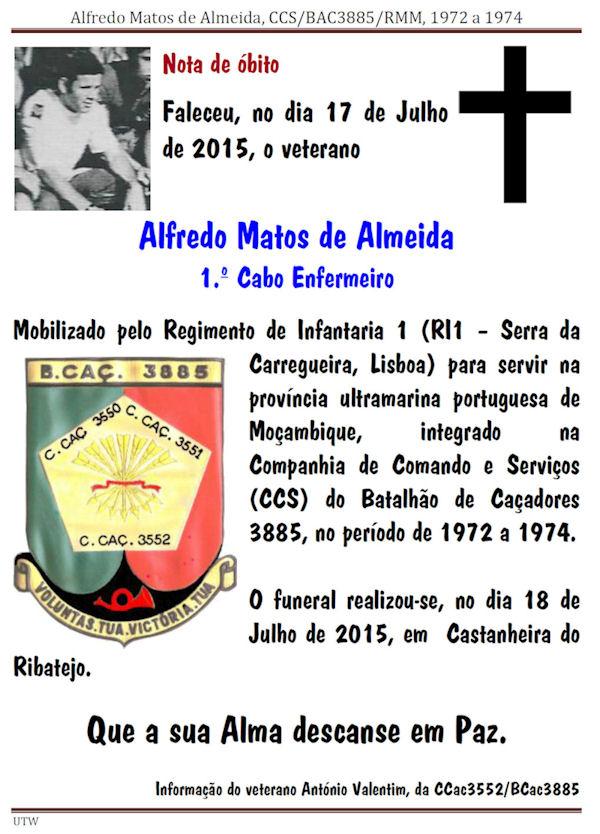 Faleceu o veterano Alfredo Matos de Almeida, da CCS/BCac3885 - 17Jul2015 Alfred12