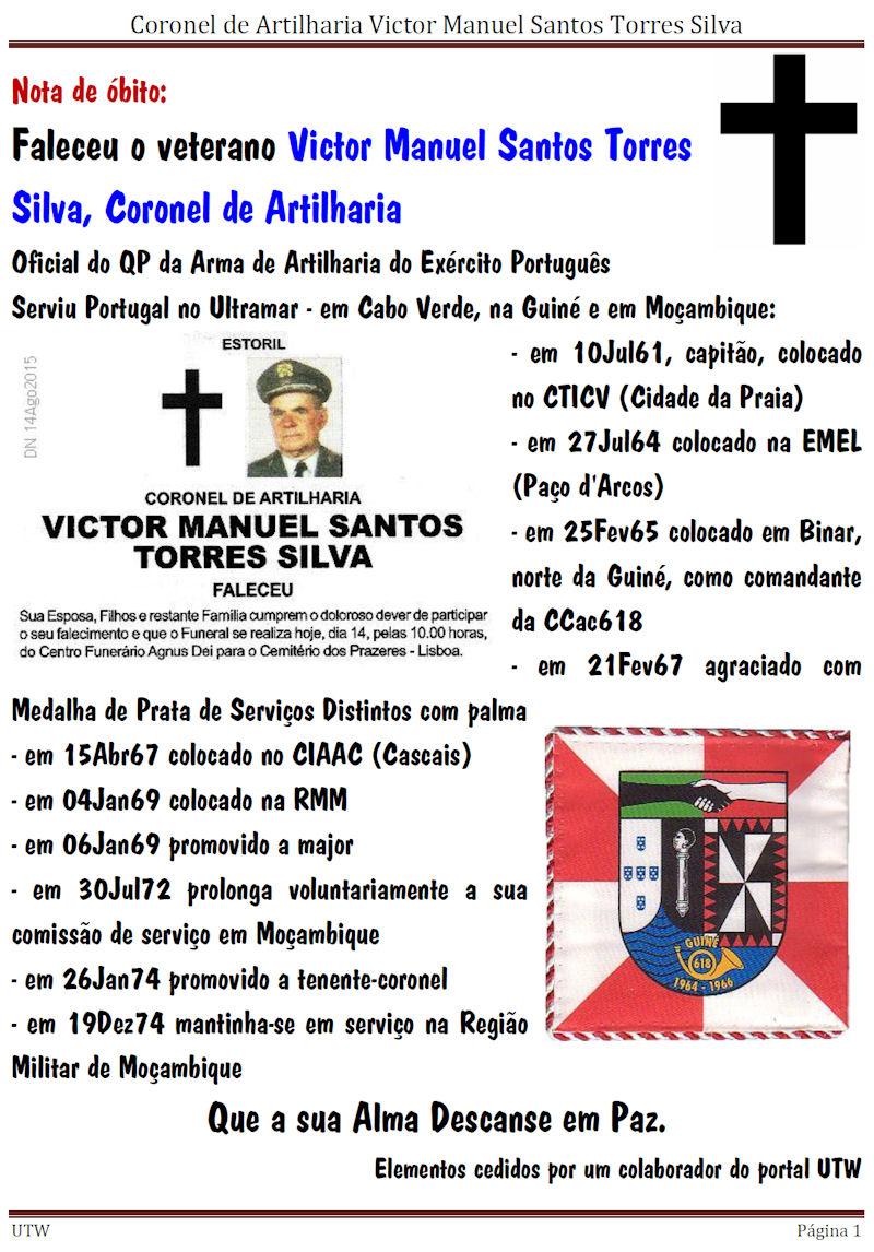 Faleceu o veterano Victor Manuel Santos Torres Silva, Coronel de Artilharia Victor10