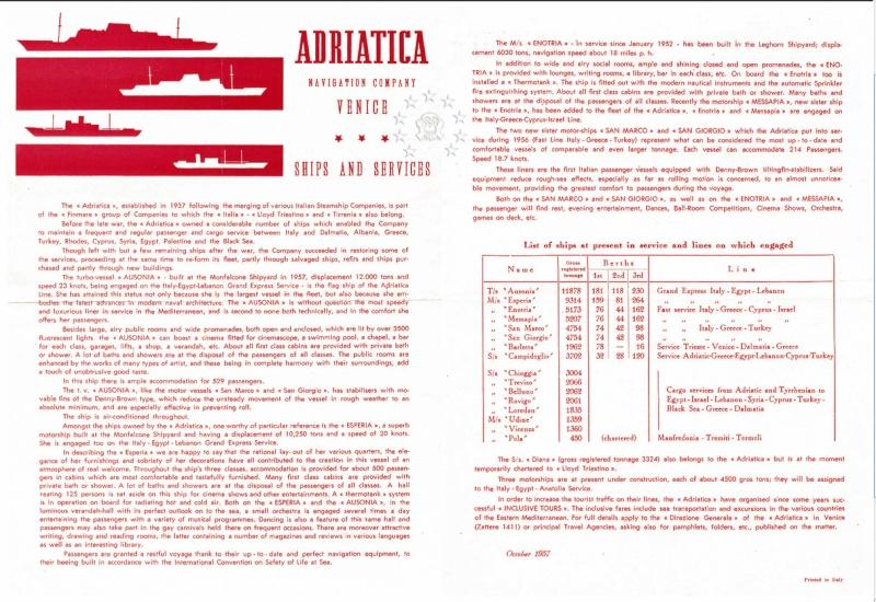 ' T/n Ausonia' - Adriatica - 1957 195710