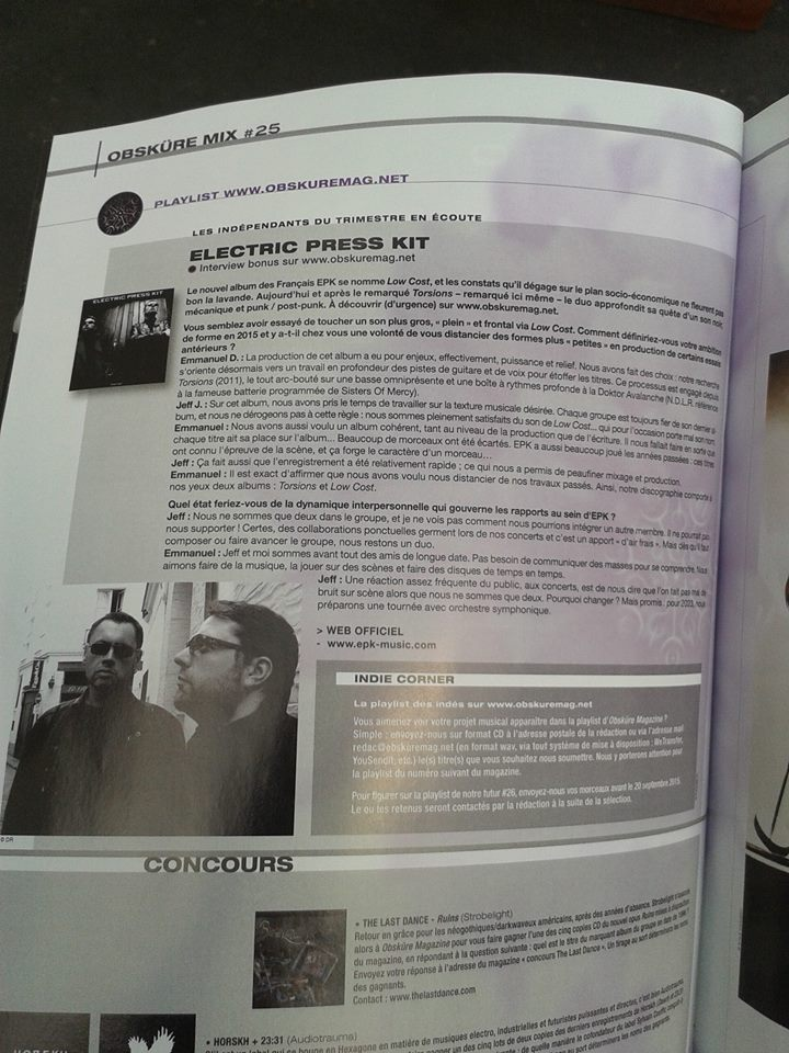 "ELECTRIC PRESS KIT ""LOW COST"" Nouvel album! Interv10"