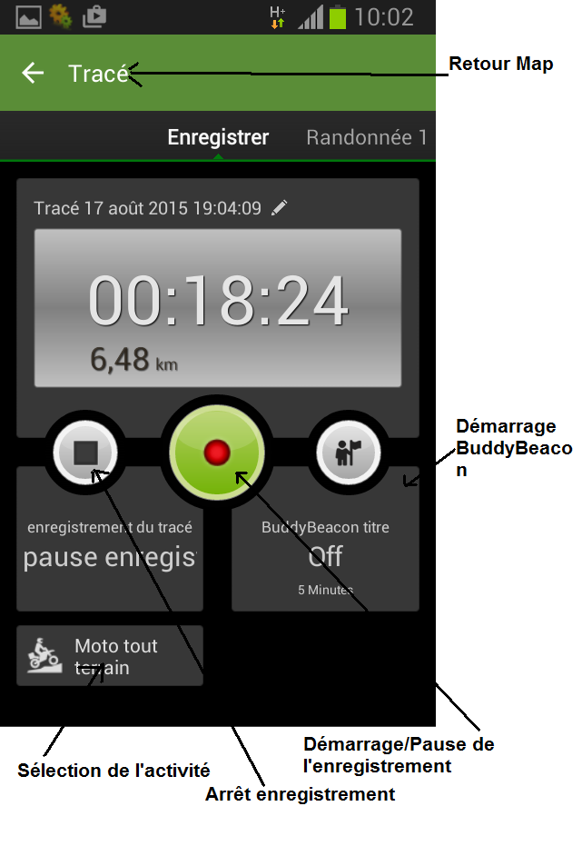 VIEWRANGER, Application GPS TRACE Enregi10