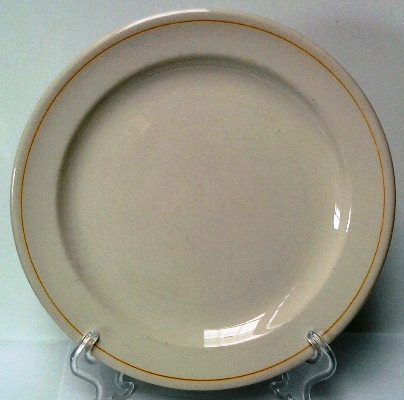 Vitrified saucer with one orange line and gold rim 1_oran10
