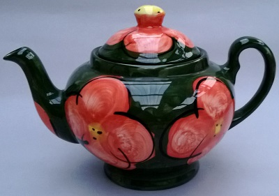 Christine Harris teapot green with red flowers Christ11
