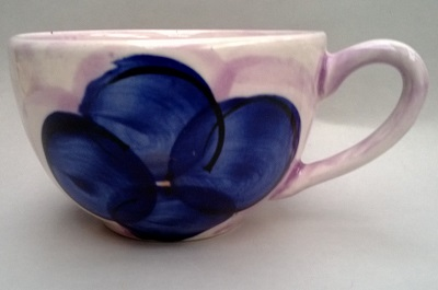 Christine Harris Mauve and Blue Floral cup Christ13