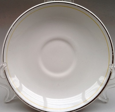 Vitrified saucer with one orange line and gold rim Vit_sa10