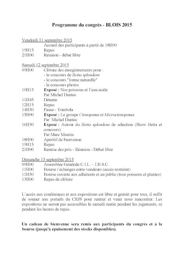 Blois, Challenge International 2015, 11/13 septembre. Progra10