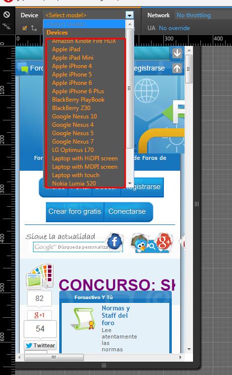 Emular version movil en cualquier navegador Opera_11